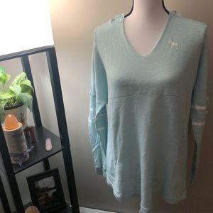 VS PINK Blue Long Sleeve Hooded Sweatshirt